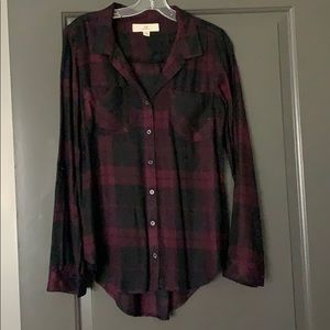 Dark plaid button down shirt
